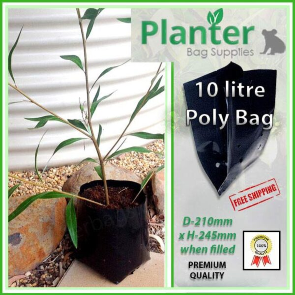 10 litre Standard Poly Planter bag plant Growbag PB18 - Planter Bag Supplies NZ - for more info go to planterbags.co.nz