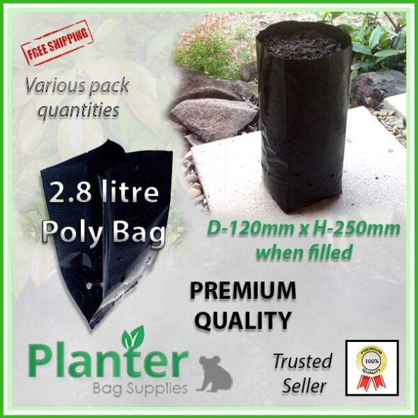 2.8 litre tall poly planter bag plant Growbag - Planter Bag Supplies NZ - for more info go to planterbags.co.nz