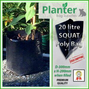 20 litre Squat Poly Planter bag plant Growbag - Planter Bag Supplies NZ - for more info go to planterbags.co.nz