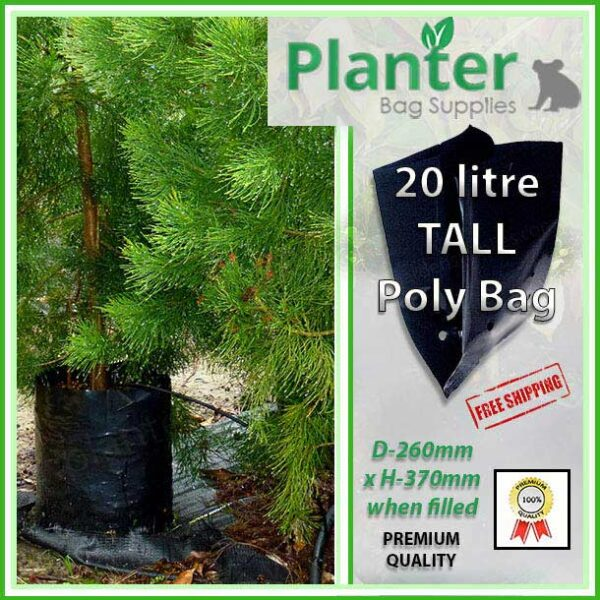 20 litre Tall Poly Planter bag plant Growbag - Planter Bag Supplies NZ - for more info go to planterbags.co.nz