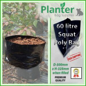 60 litre Squat poly planter bag plant Growbag - Planter Bag Supplies NZ - for more info go to planterbags.co.nz